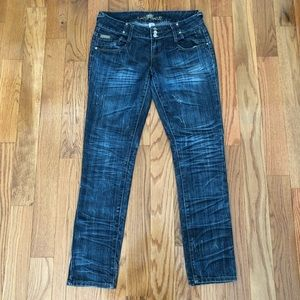 ALMOST FAMOUS | Whiskered Blue Jeans Sz 11